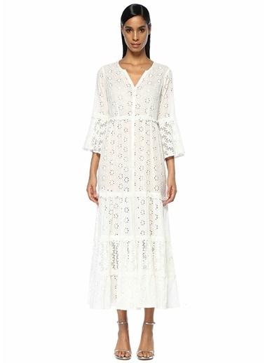 By Timo Moa Yaka Dantelli Fırfırlı Maxi Elbise Beyaz